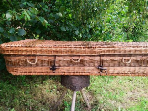 Willow coffin, made of buff and brown willow