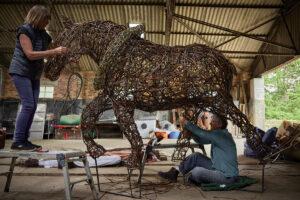 Ruth and Liz horse weaving